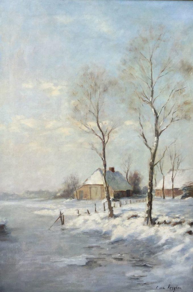 Schilderijen te koop,Polderlandschap in de winter olie op doek, doekmaat 87.5 x 60 cm rechtsonder gesigneerd, expositie Galerie Wijdemeren Breukeleveen