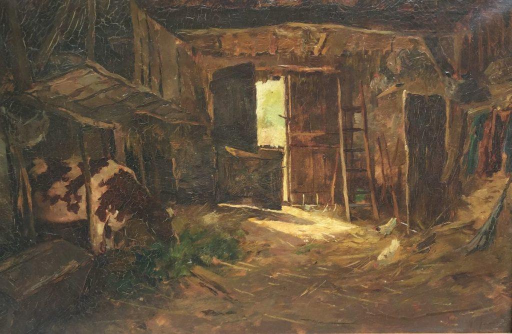 Schilderijen te koop, Koeienstal, olie op doek, doekmaat 37 x 56.5 cm rechtsonder gesigneerd J.H. Weijns, expositie Galerie Wijdemeren Breukeleveen