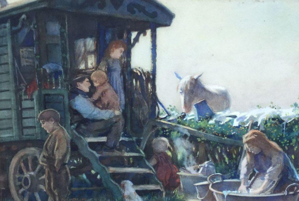 Schilderijen te koop van kunstschilder Leo Gestel Bij de woonwagen aquarel en gouache op papier, 37 x 53 cm linksonder gesigneerd en gedateerd 1907, Expositie Galerie Wijdemeren Breukeleveen