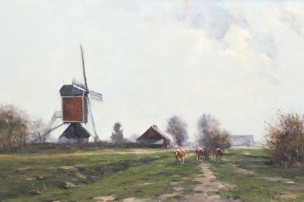Schilderijen te koop van kunstschilder Frits Goosen Molen bij Someren olie op doek, 40.5 x 60 cm gesigneerd rechtsonder en verso gedateerd 97, Expositie Galerie Wijdemeren Breukeleveen