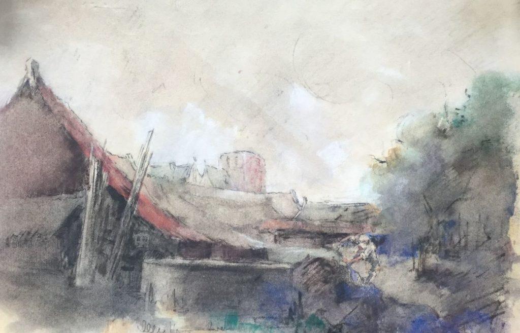 Schilderijen te koop van kunstschilder Herman Moerkerk Landschap met boerderij pastel op papier, 30 x 40 cm middenonder gesigneerd, Expositie Galerie Wijdemeren Breukeleveen