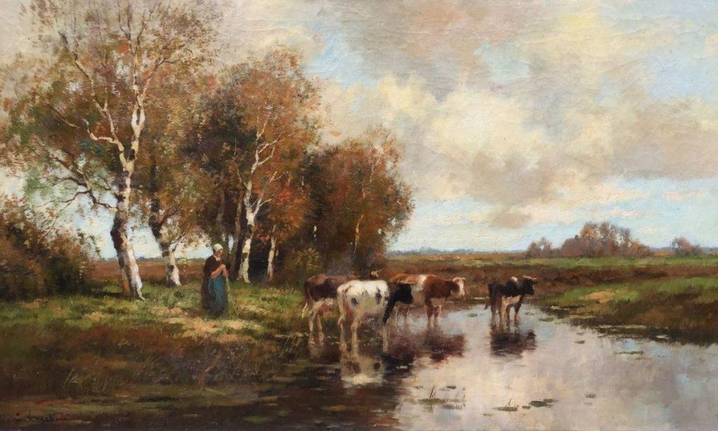 Schilderijen te koop van kunstschilder Cor Bouter, onder pseudoniem C. Verschuur Polderlandschap met koeien en boerin olie op doek, 60 x 100.5 cm linksonder gesigneerd, Expositie Galerie Wijdemeren Breukeleveen