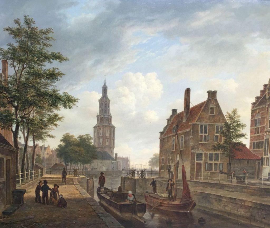 Schilderijen te koop van kunstschilder B.J. van Hove Stadsgezicht olie op paneel, 45.5 x 50.5 cm linksonder gesigneerd, Expositie Galerie Wijdemeren Breukeleveen