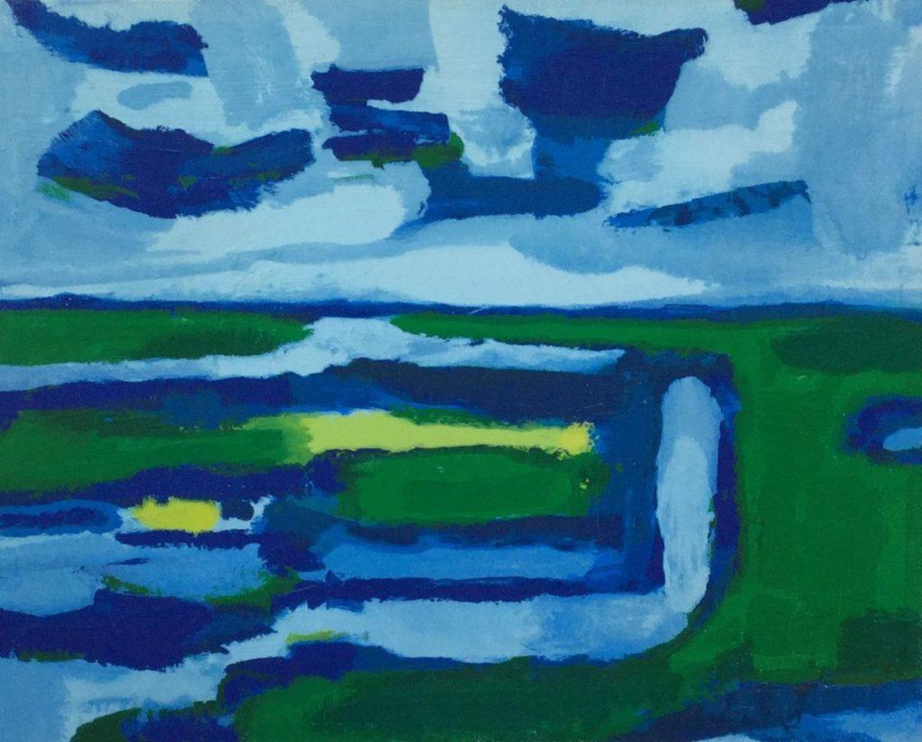 Schilderijen te koop van kunstschilder Gerrit Benner geabstraheerd landschap zeefdruk, 42 x 53 rechtsonder handgesigneerd, Expositie Galerie Wijdemeren Breukeleveen