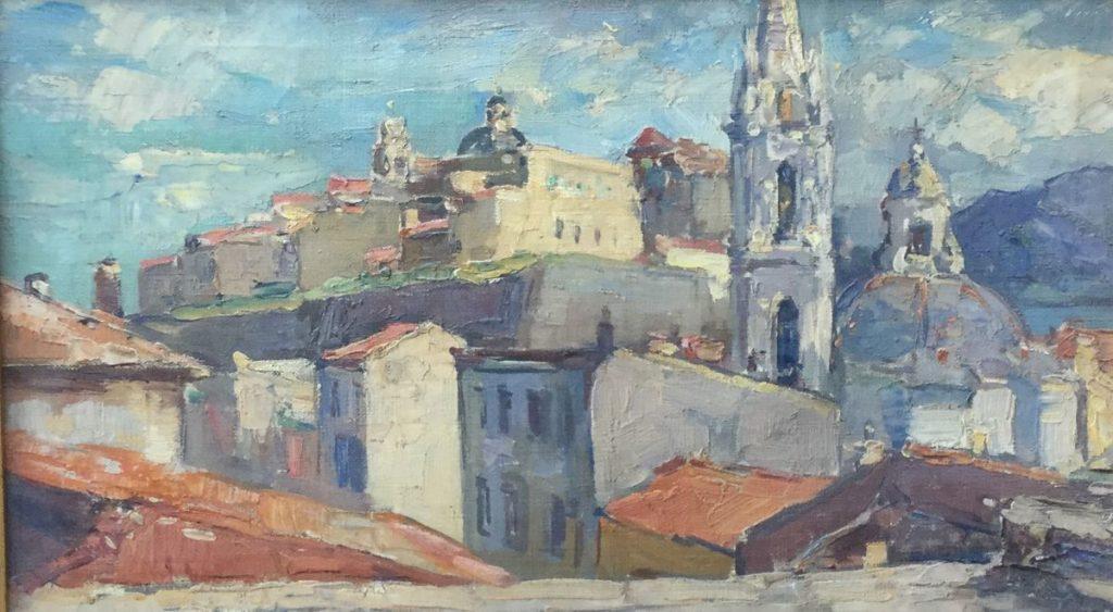 Schilderijen te koop van kunstschilder, H. van Leeuwen Calvi Corsica olie op doek, 28 x 46 cm linksonder gesigneerd, Expositie Galerie Wijdemeren Breukeleveen
