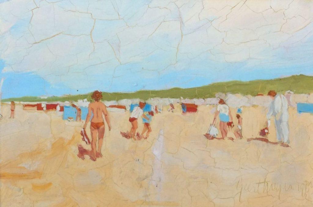Schilderijen te koop van kunstschilderGeert Meijer Strandgezicht olie op board, 19,5 x 29,5 cm gedateerd 1984, gesigneerd rechtsonder, Expositie Galerie Wijdemeren Breukeleveen