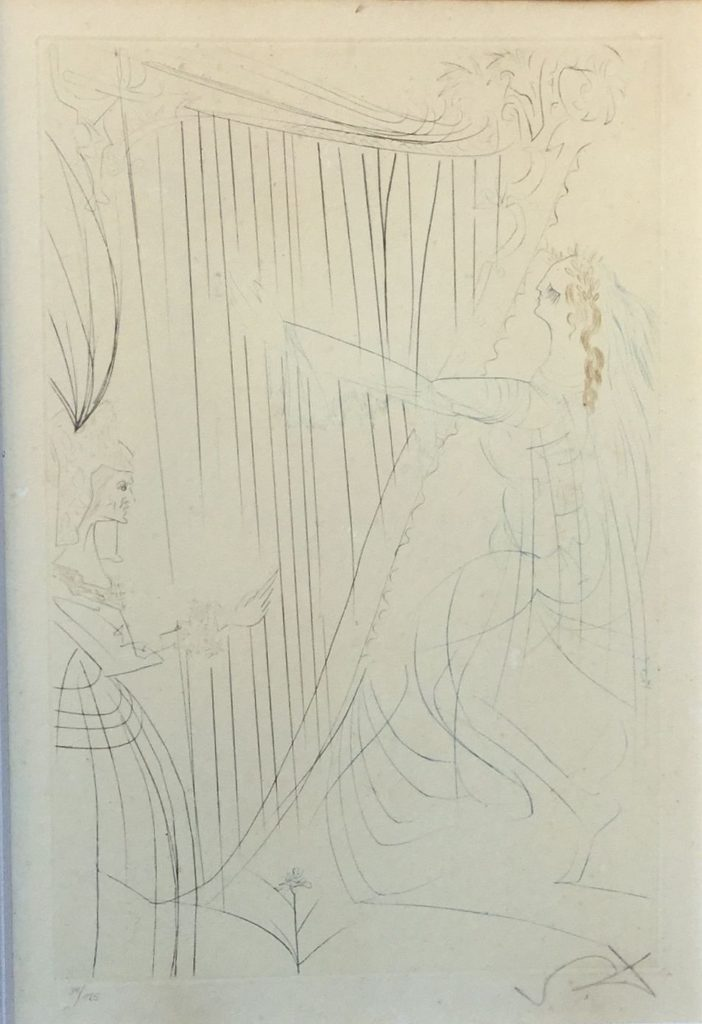 Schilderijen te koop van kunstschilder Salvador Dali Queen Iseult and Her Daughter litho, oplage 34/125 rechtsonder handgesigneerd, Expositie Galerie Wijdemeren Breukeleveen