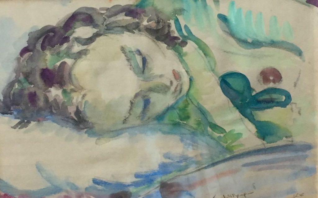 Schilderijen te koop van kunstschilder Freek van den Berg portret van slapende dame gemengde techniek op papier, 24 x 37 cm rechtsonder gesigneerd, Expositie Galerie Wijdemeren Breukeleveen