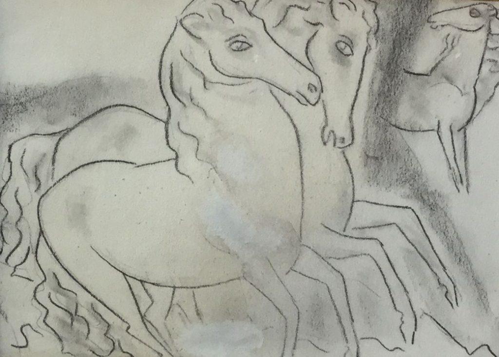 Schilderijen te koop van kunstschilder Leo Gestel paarden krijttekening op papier, beeldmaat 14 x 19 cm verso gesigneerd Herkomst Kunsthandel Elisabeth den Bieman de Haas, Expositie Galerie Wijdemeren Breukeleveen