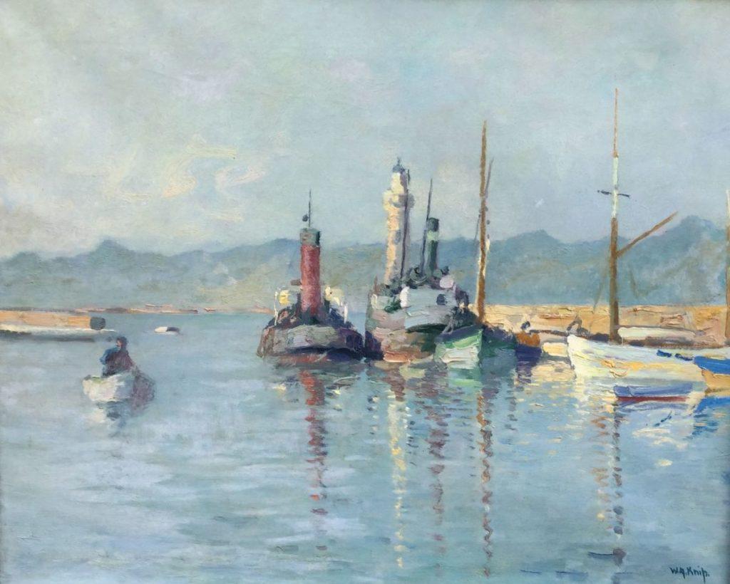 Schilderijen te koop van kunstschilder W.A. Knip Havenhoofd olie op doek, 41 x 50 cm rechtsonder gesigneerd, Expositie Galerie Wijdemeren Breukeleveen