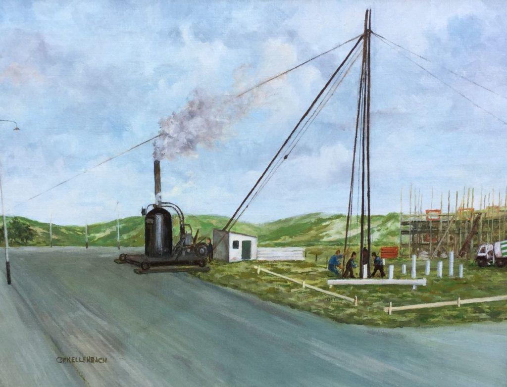 Schilderijen te koop, kunstschilder C.F. Kallenbach Bouwwerk olie op doek, doekmaat 30 x 40 cm linksonder gesigneerd, expositie Galerie Wijdemeren Breukeleveen