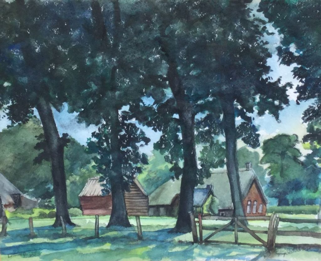 Schilderijen te koop van kunstschilder Jaap van Zijderveld (sr.) Boerderij achter de bomen te Diever aquarel, beeldmaat 40 x 47 cm rechtsonder gesigneerd en linksonder gedateerd 75, Expositie Galerie Wijdemeren Breukeleveen