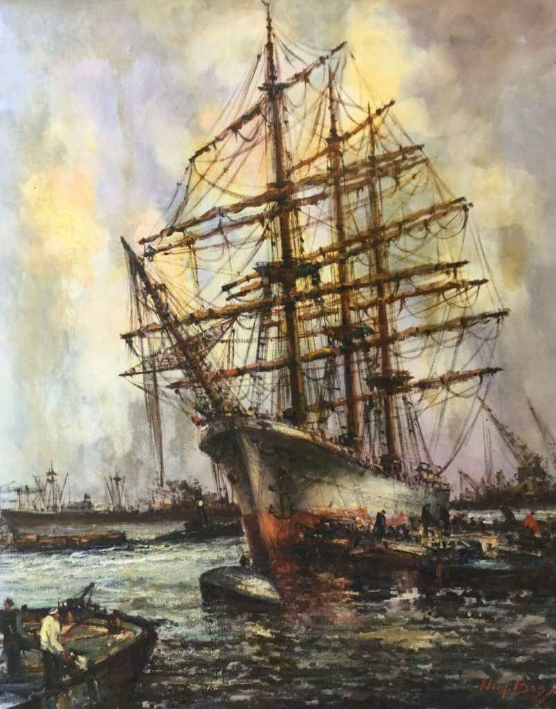 Schilderijen te koop van kunstschilder Willem (Wim) Bos Schoener in de haven olie op doek, 100.5 x 80 cm rechtsonder gesigneerd, Expositie Galerie Wijdemeren Breukeleveen