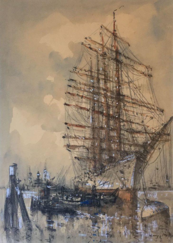 Schilderijen te koop van kunstschilder Willem (Wim) Bos Schoener in de haven van Rotterdam gemengde technieken op papier, 70 x 60 cm rechtsonder gesigneerd, Expositie Galerie Wijdemeren Breukeleveen