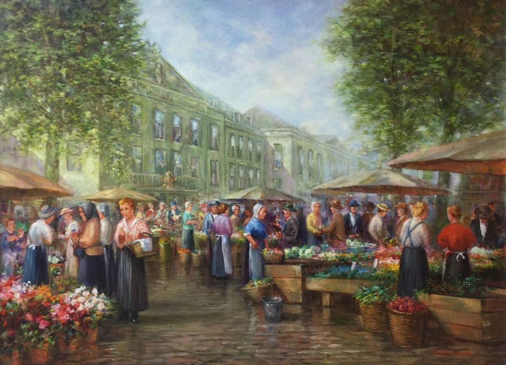 Schilderijen te koop van kunstschilder J. Hovener Bloemenmarkt olie op doek, 60 x 80 cm rechtsonder gesigneerd, Expositie Galerie Wijdemeren Breukeleveen
