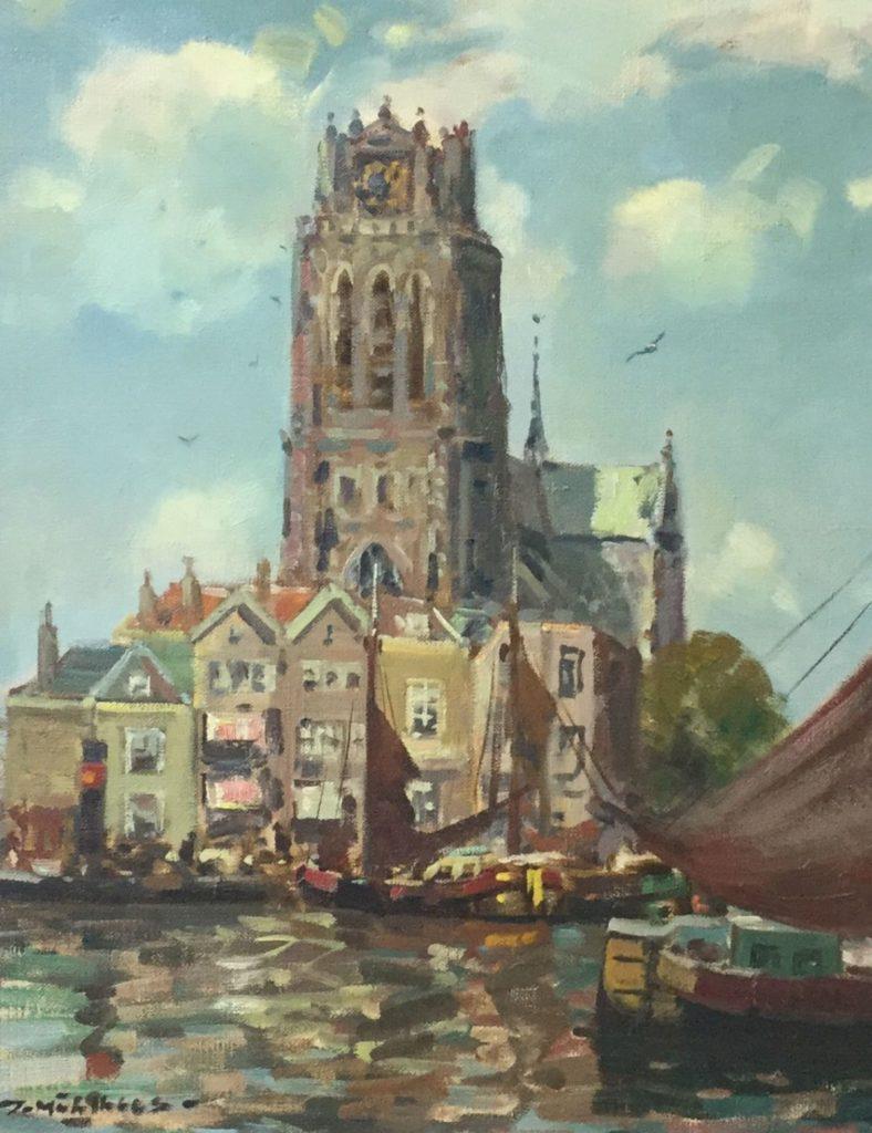 Schilderijen te koop van kunstschilder Daniël Mühlhaus Zicht op Dordrecht olie op doek, 50 x 40 cm linksonder gesigneerd, Expositie Galerie Wijdemeren Breukeleveen