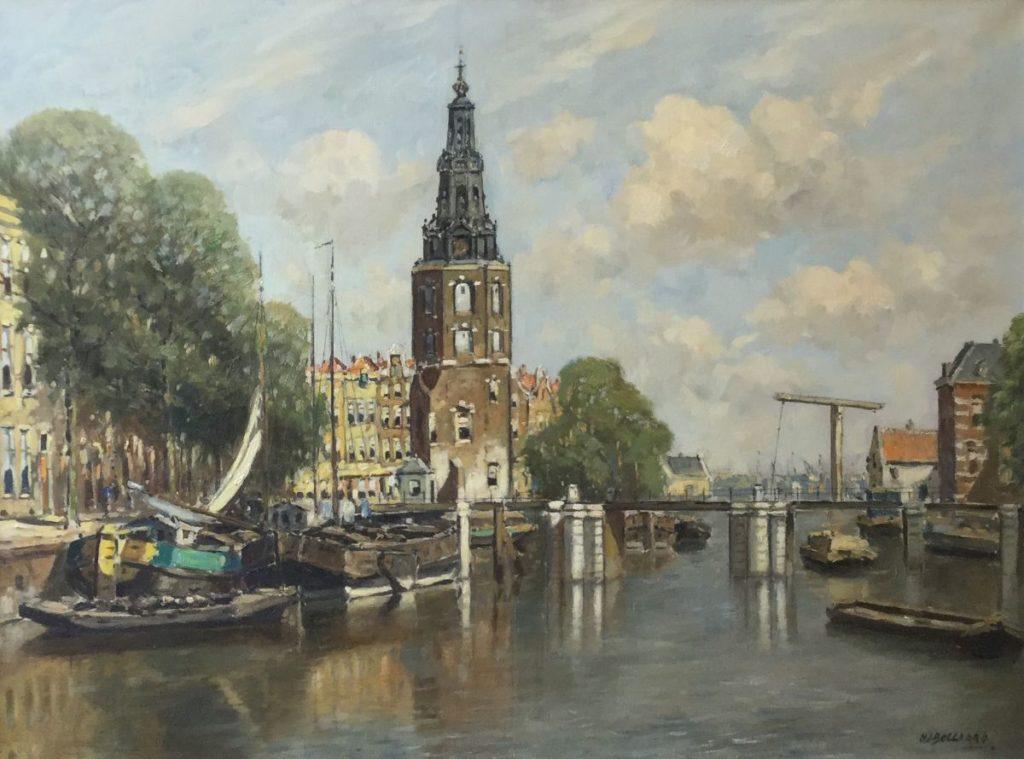 Schilderijen te koop van kunstschilder H.J. Bellaard Westertoren Amsterdam olie op doek,60.5 x 80 cm rechtsonder gesigneerd, Expositie Galerie Wijdemeren Breukeleveen