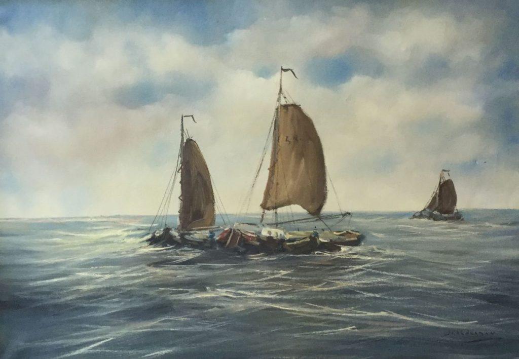 Kunstenaar Jan Kelderman C4780-2 Jan Kelderman Varende boten olie op doek, 50 x 70 cm rechtsonder gesigneerd