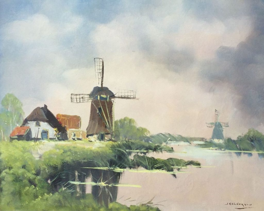 Schilderijen te koop van kunstschilder Jan Kelderman Molengezicht olie op doek, 40 x 50 cm rechtsonder gesigneerd, Expositie Galerie Wijdemeren Breukeleveen