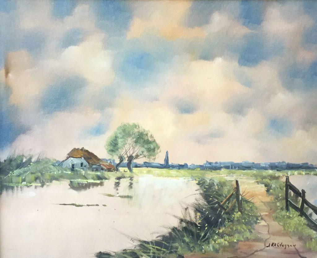 Schilderijen te koop van kunstschilder Jan Kelderman Zomeravond in de Wormer olie op doek, 41 x 50 cm rechtsonder gesigneerd, Expositie Galerie Wijdemeren Breukeleveen