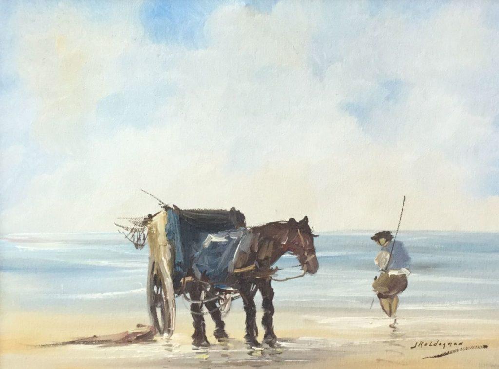 Kunstenaar Jan Kelderman C4780-7 Jan Kelderman Schelpenvisser olie op doek, 30 x 40 cm rechtsonder gesigneerd
