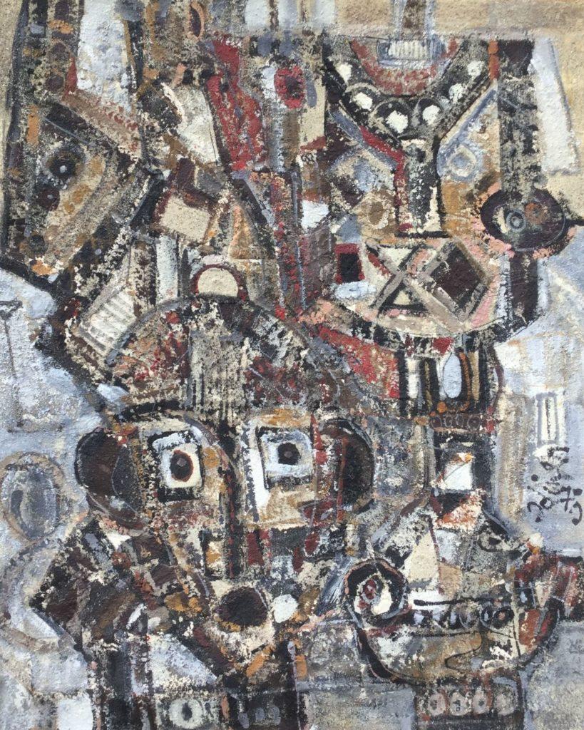 Schilderijen te koop van kunstschilder Georges Ebrin Adingra Oiseleur (vogelvanger) olieverf en zand op doek, 100 x 80.5 cm rechtsonder gesigneerd en gedateerd 79, Expositie Galerie Wijdemeren Breukeleveen