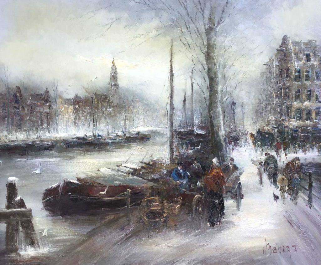 Schilderijen te koop van kunstschilder John Bevort Amsterdam olie op doek, 100 x 120 cm rechtsonder gesigneerd, Expositie Galerie Wijdemeren Breukeleveen