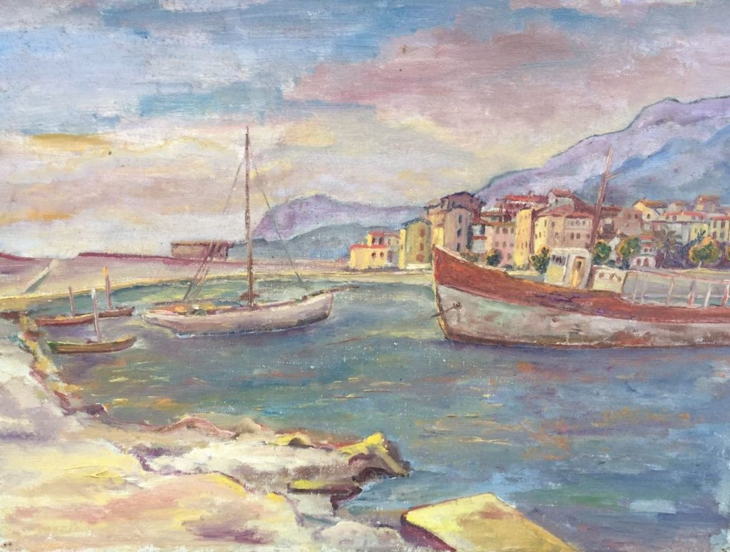 Schilderijen te koop van kunstschilder Jan Lambeck Mediterraans havengezicht olie op doek, doekmaat 30 x 40 cm, Expositie Galerie Wijdemeren Breukeleveen