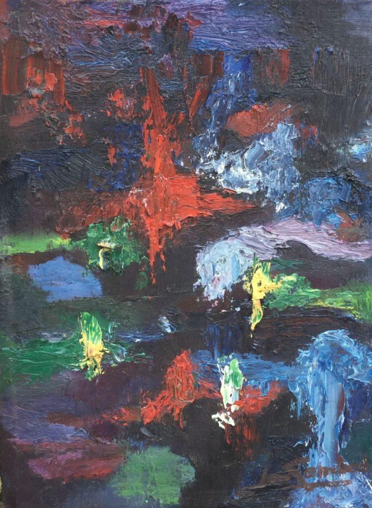 Jan Lambeck abstracte voorstelling olie op doek, 40 x 30 cm rechtsonder gesigneerd, Galerie Wijdemeren, kunst te koop