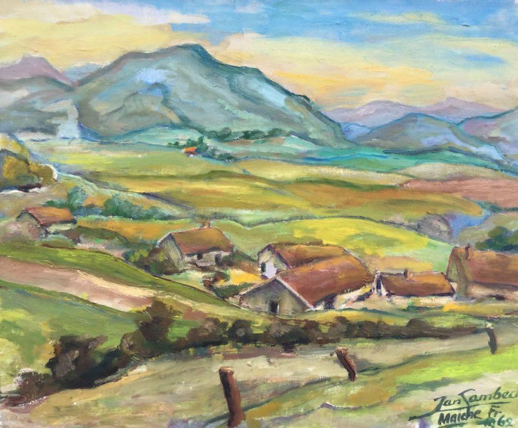 Schilderijen te koop van kunstschilder Jan Lambeck Maiche Frankrijk olie op doek, doekmaat 40 x 50 cm rechtsonder gesigneerd en gedateerd 1962, Expositie Galerie Wijdemeren Breukeleveen