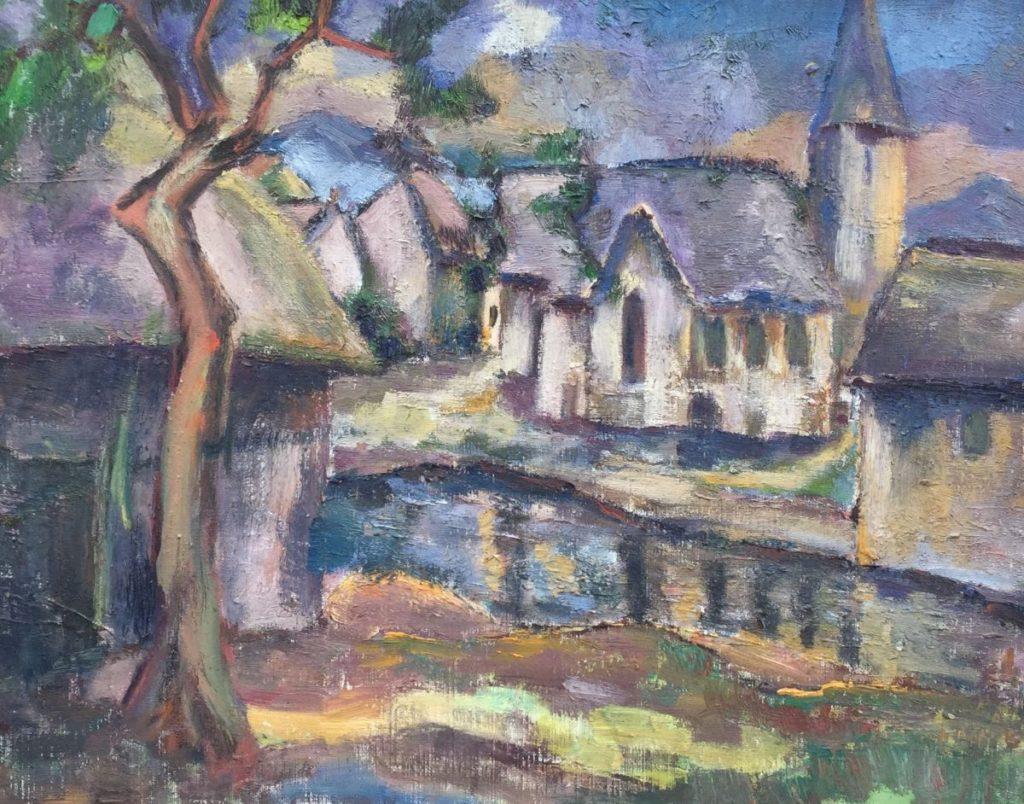 Schilderijen te koop van kunstschilder Jan Lambeck St. Hypolite, Frankrijk 1962 olie op doek, doekmaat 40 x 50 cm, Expositie Galerie Wijdemeren Breukeleveen