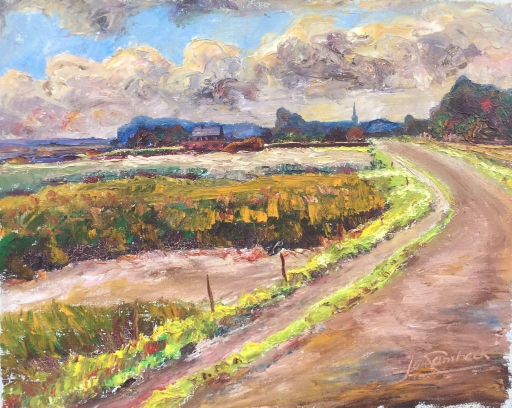 Galerie wijdemeren, kunst te koop, Jan Lambeck Boerenlandschap met stad in de verte olie op doek, 40 x 50 cm rechtsonder gesigneerd