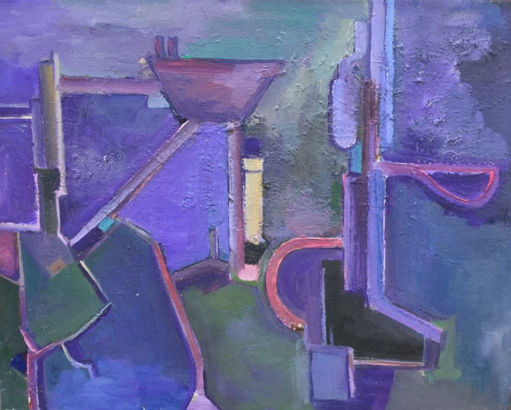 Kunst te koop van Jan Lambeck Abstracte voorstelling in paarstinten olie op doek, 40 x 50 cm ongesigneerd