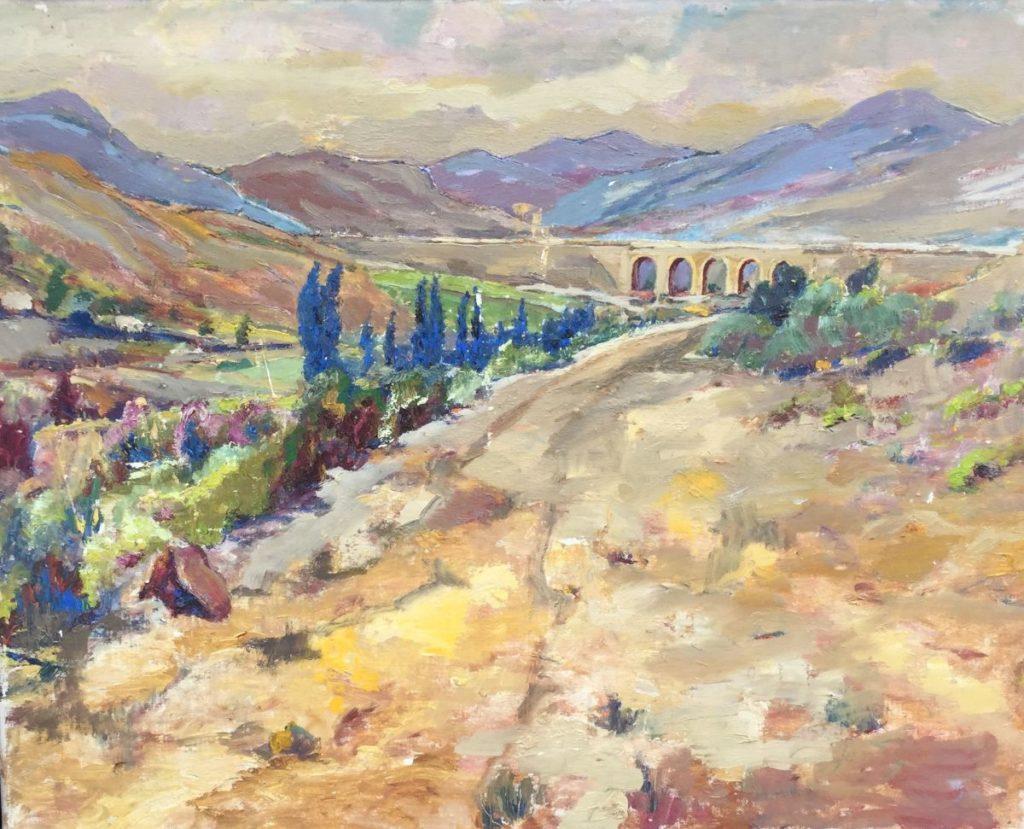 Kunst te koop bij Galerie Wijdemeren door Jan Lambeck Spaanse Pyreneën olie op doek, 40 x 50 cm rechtsonder gesigneerd, verso gedateerd 1970