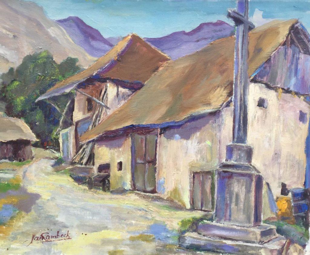 Kunst te koop bij Galerie Wijdemeren van Jan Lambeck Boerderij in een bergdorpje olie op doek, 40 x 50 cm linksonder gesigneerd