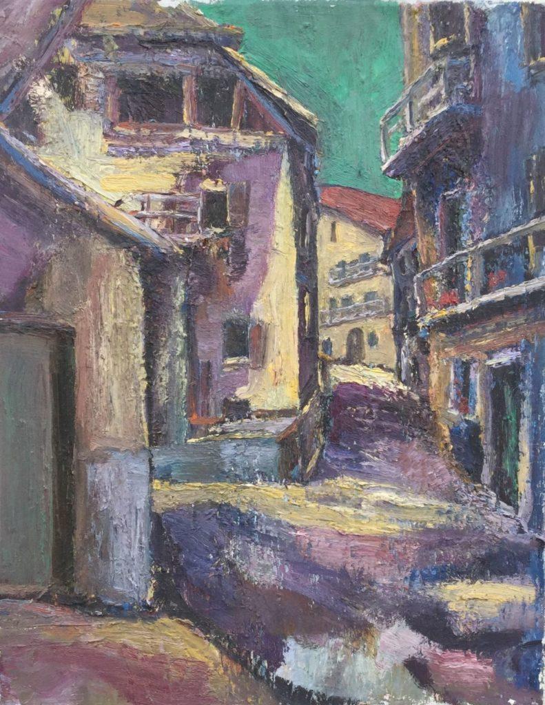 Kunst te koop van kunstschilder Jan Lambeck Doorkijkje door een straatje olie op doek, 50 x 40 cm bij Galerie Wijdemeren