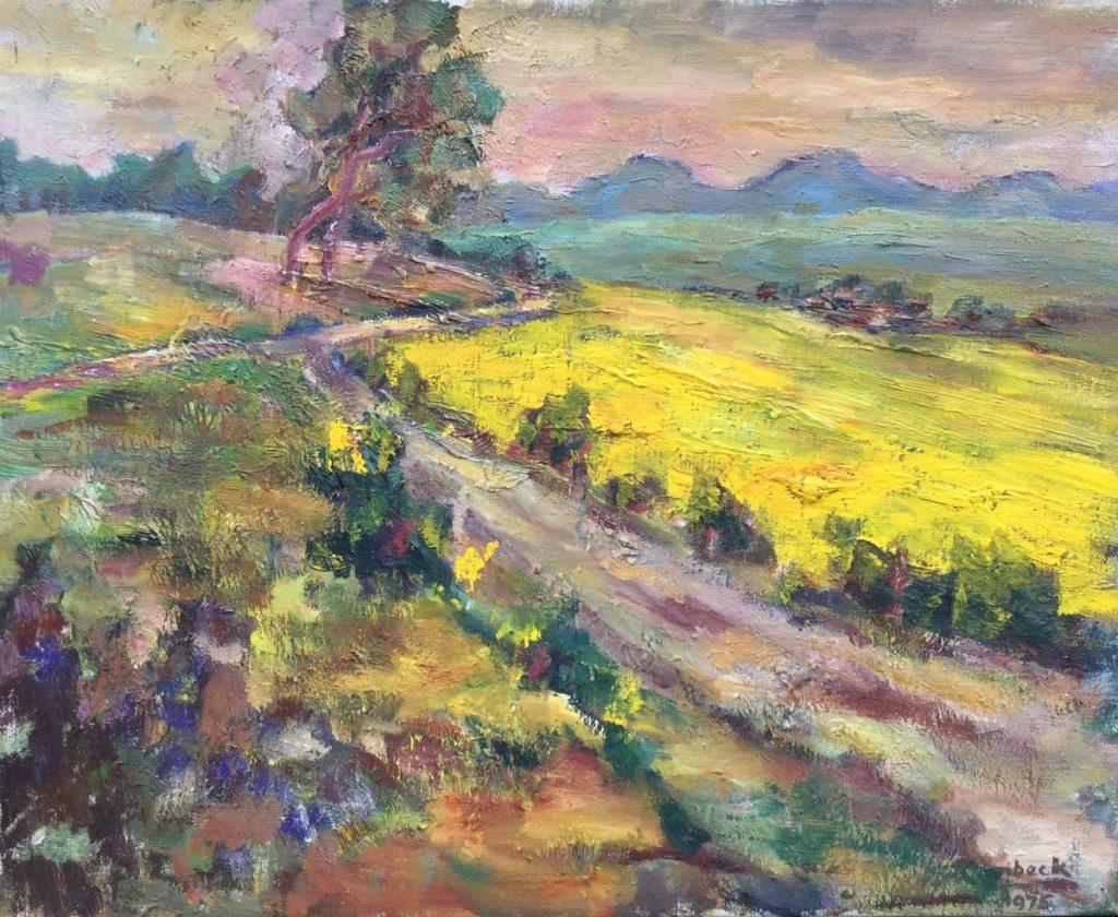 Kunst te koop bij Galerie Wijdemeren Breukeleveen van Jan Lambeck Landschap olie op doek, 40 x 50 cm rechtsonder gesigneerd en gedateerd 1975