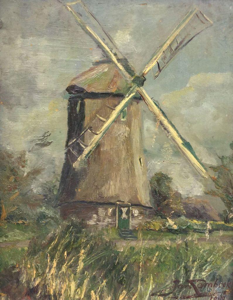 Kunst te koop bij Galerie Wijdemeren van kunstschilder Jan Lambeck Landschap met molen olie op board, 42 x 33,5 cm rechtsonder gesigneerd en gedateerd 1979