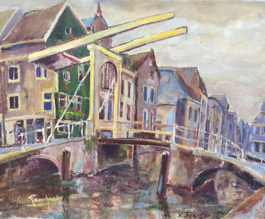 Jan Lambeck Kuiperbrug olie op doek, 40 x 50 cm linksonder gesigneerd, verso gedateerd 1956, Te koop bij Galerie Wijdemeren
