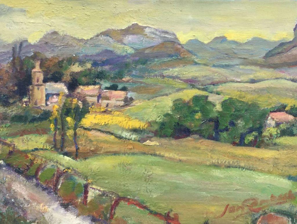 Schilderijen te koop van kunstschilder Jan Lambeck Heuvellandschap met zicht op dorp olie op doek, , doekmaat 30 x 40 cm rechtsonder gesigneerd, Expositie Galerie Wijdemeren Breukeleveen