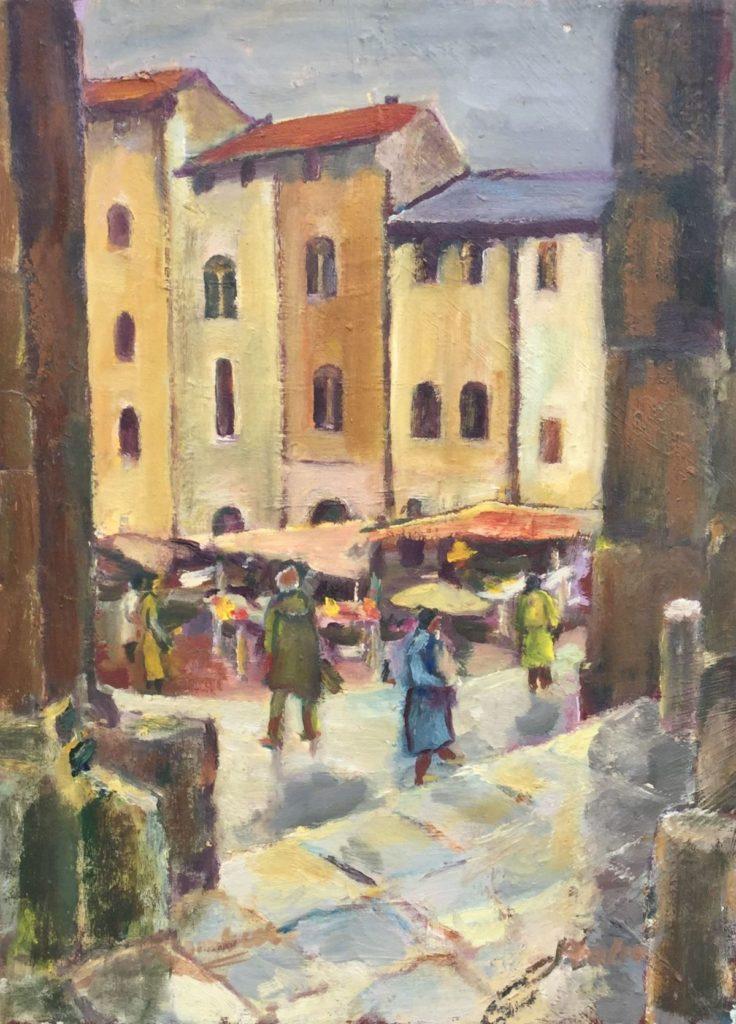 Jan Lambeck Doorkijkje naar stadsmarkt olie op doek, 40 x 30 cm rechtsonder gesigneerd