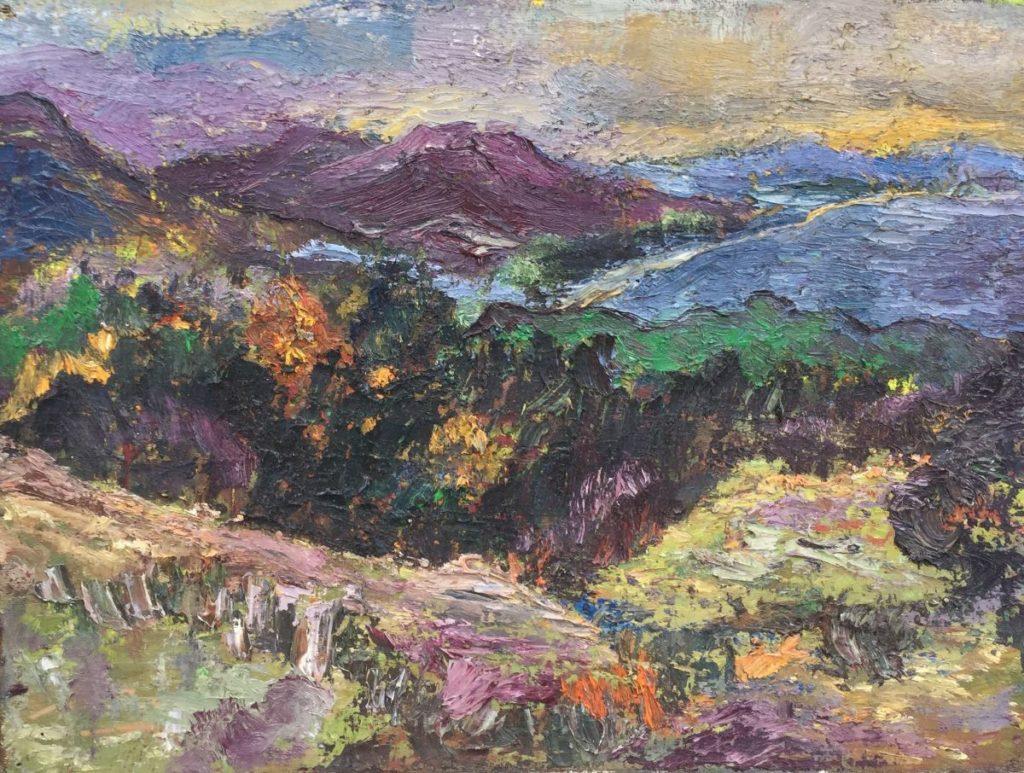 Jan Lambeck Berglandschap olie op doek, 30 x 40 cm
