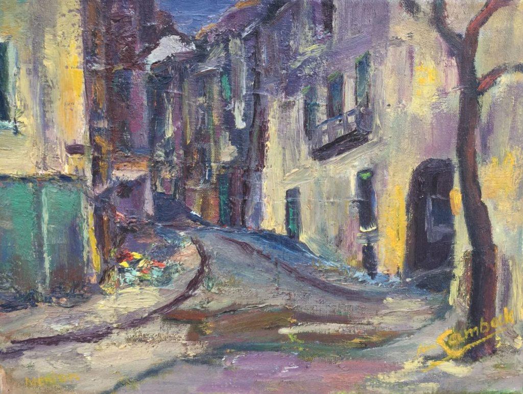 Jan Lambeck Mediterraans dorpsstraatje olie op doek, 30 x 40 cm rechtsonder gesigneerd, Galerie Wijdemeren