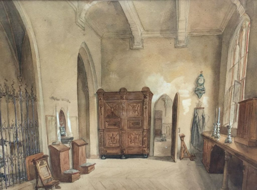Schilderijen te koop van kunstschilder Valerie Witte Eeckhout In Antwerpen, kerkinterieur aquarel, beeldmaat 29 x 38.5 cm, Expositie Galerie Wijdemeren Breukeleveen