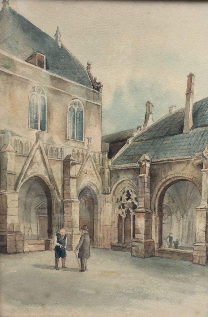 Schilderijen te koop van kunstschilder Valerie Witte Eeckhout Binnenplaats van een kerk aquarel op papier, beeldmaat 33 x 23 cm gedateerd verso ca. 1890, Expositie Galerie Wijdemeren Breukeleveen