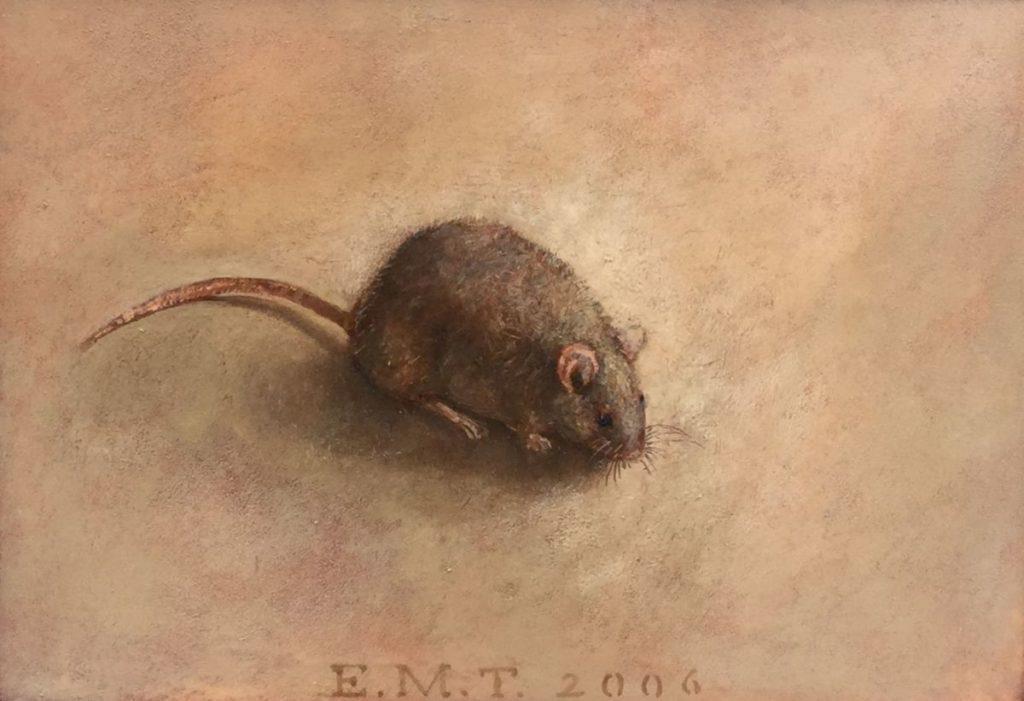 Schilderijen te koop van kunstschilder Ellis Tertoolen Muisje olie op paneel, 15 x 21 cm middenonder gesigneerd en gedateerd 2006, Expositie Galerie Wijdemeren Breukeleveen