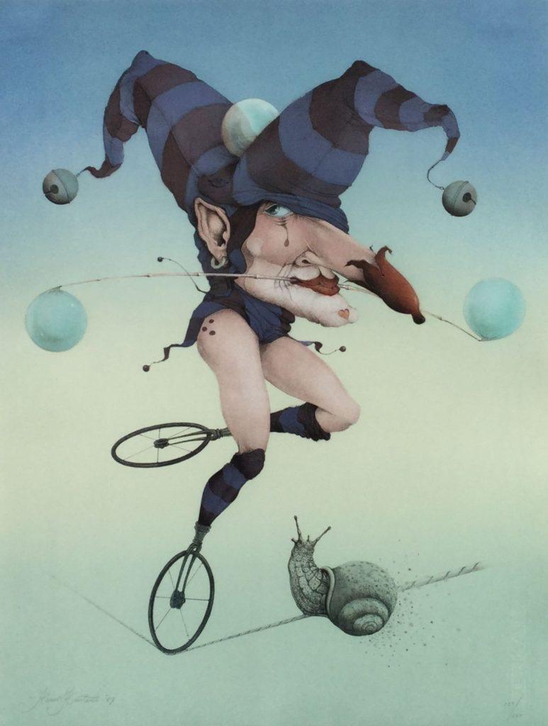 Schilderijen te koop van kunstschilder Hans Kanters Surrealistische voorstelling met ballerina litho, oplage 123/250, 64.5 x 49.5 cm linksonder gesigneerd en gedateerd 87, Expositie Galerie Wijdemeren Breukeleveen