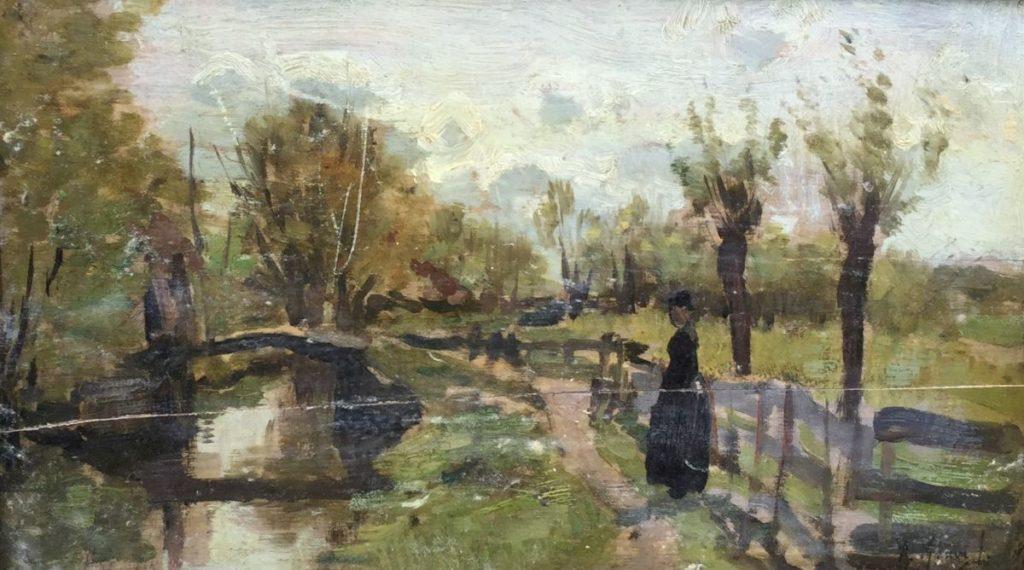 Schilderijen te koop van kunstschilder Anton Mauve Wandelaar langs de vaart olie op paneel, 14.5 x 24.5 cm rechtsonder gesigneerd, Expositie Galerie Wijdemeren Breukeleveen