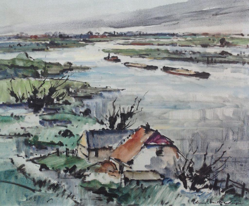 Kunstenaar Clement van Vlaardingen C47 Clement van Vlaardingen rivierlandschap met huisjes olie op doek r.o. gesigneerd particuliere collectie