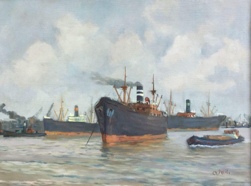 Kunst te koop bij Galerie Wijdemeren, Charles Petit Havengezicht olie op doek, 33.5 x 42.5 cm rechtsonder gesigneerd